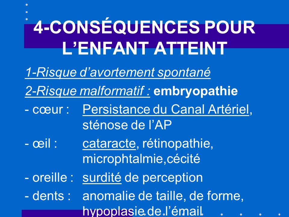 4-CONSÉQUENCES POUR LENFANT ATTEINT 1-Risque davortement spontané 2-Risque malformatif : embryopathie - cœur : Persistance du Canal Artériel, sténose