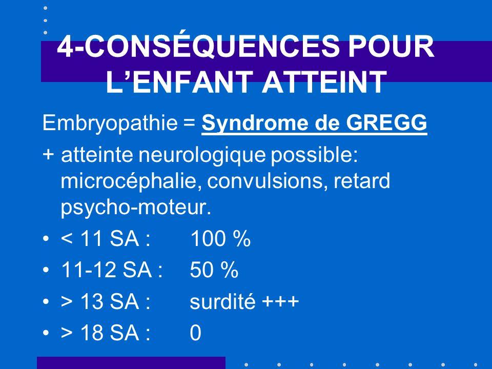 4-CONSÉQUENCES POUR LENFANT ATTEINT Embryopathie = Syndrome de GREGG + atteinte neurologique possible: microcéphalie, convulsions, retard psycho-moteu