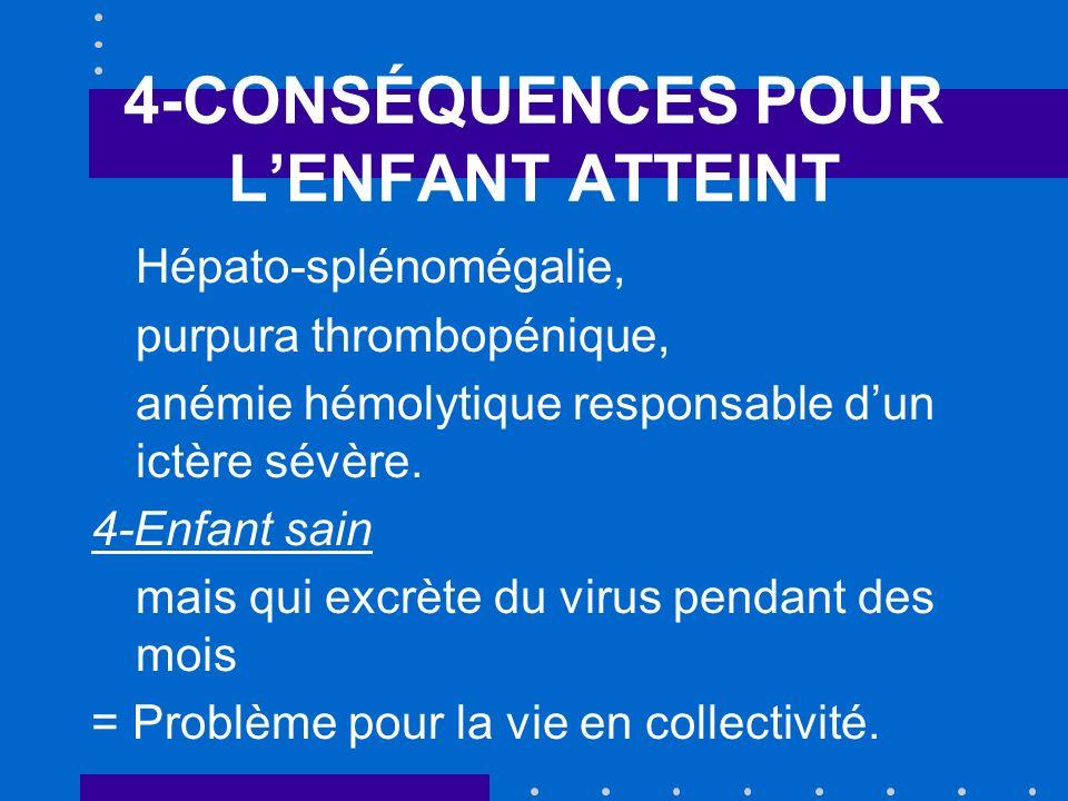 4-CONSÉQUENCES POUR LENFANT ATTEINT Hépato-splénomégalie, purpura thrombopénique, anémie hémolytique responsable dun ictère sévère. 4-Enfant sain mais