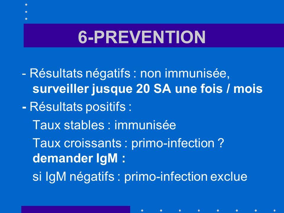 6-PREVENTION - Résultats négatifs : non immunisée, surveiller jusque 20 SA une fois / mois - Résultats positifs : Taux stables : immunisée Taux croiss