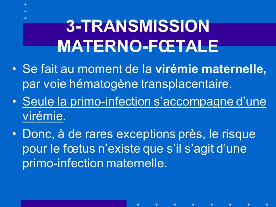 3-TRANSMISSION MATERNO-FŒTALE Se fait au moment de la virémie maternelle, par voie hématogène transplacentaire. Seule la primo-infection saccompagne d