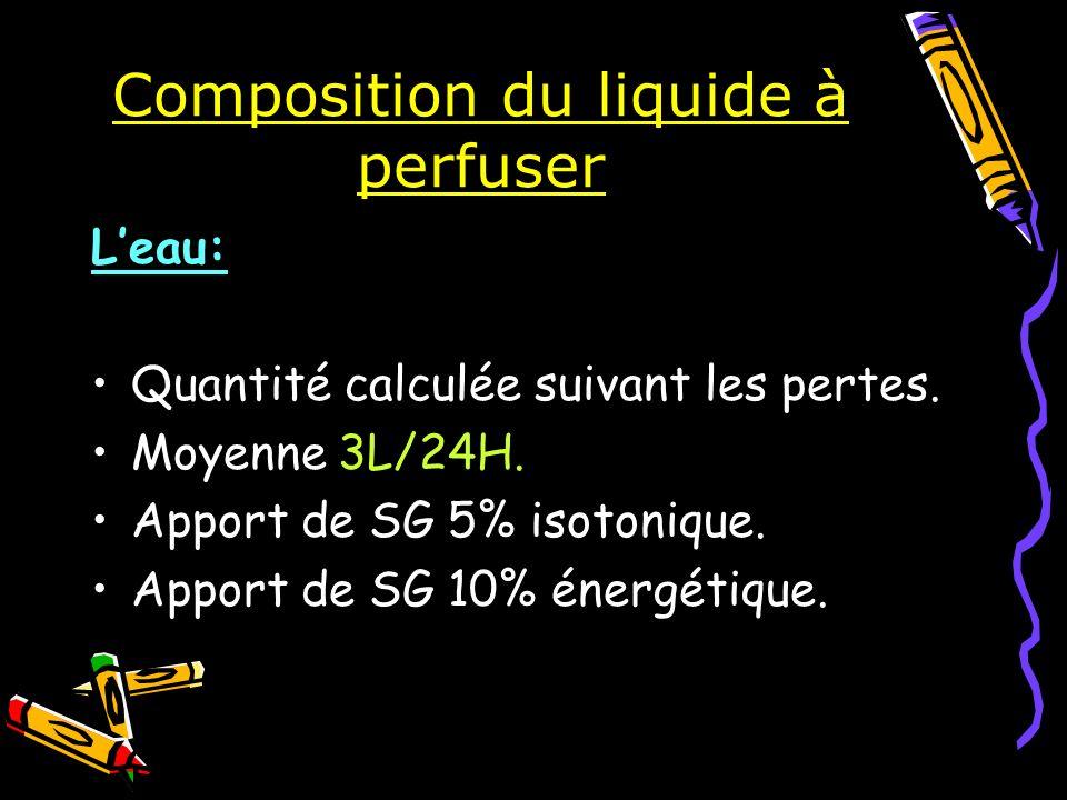 Composition du liquide à perfuser Leau: Quantité calculée suivant les pertes. Moyenne 3L/24H. Apport de SG 5% isotonique. Apport de SG 10% énergétique