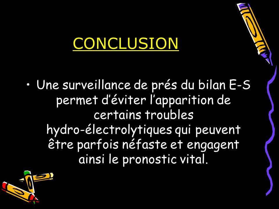 CONCLUSION Une surveillance de prés du bilan E-S permet déviter lapparition de certains troubles hydro-électrolytiques qui peuvent être parfois néfast