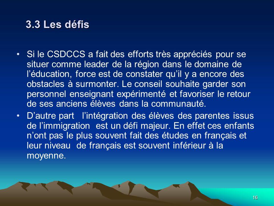 16 3.3 Les défis Si le CSDCCS a fait des efforts très appréciés pour se situer comme leader de la région dans le domaine de léducation, force est de constater quil y a encore des obstacles à surmonter.