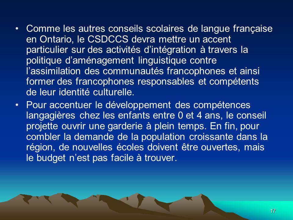 17 Comme les autres conseils scolaires de langue française en Ontario, le CSDCCS devra mettre un accent particulier sur des activités dintégration à travers la politique daménagement linguistique contre lassimilation des communautés francophones et ainsi former des francophones responsables et compétents de leur identité culturelle.