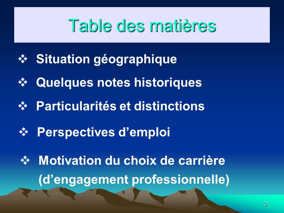 2 Table des matières Situation géographique Quelques notes historiques Particularités et distinctions Perspectives demploi Motivation du choix de carrière (dengagement professionnelle)