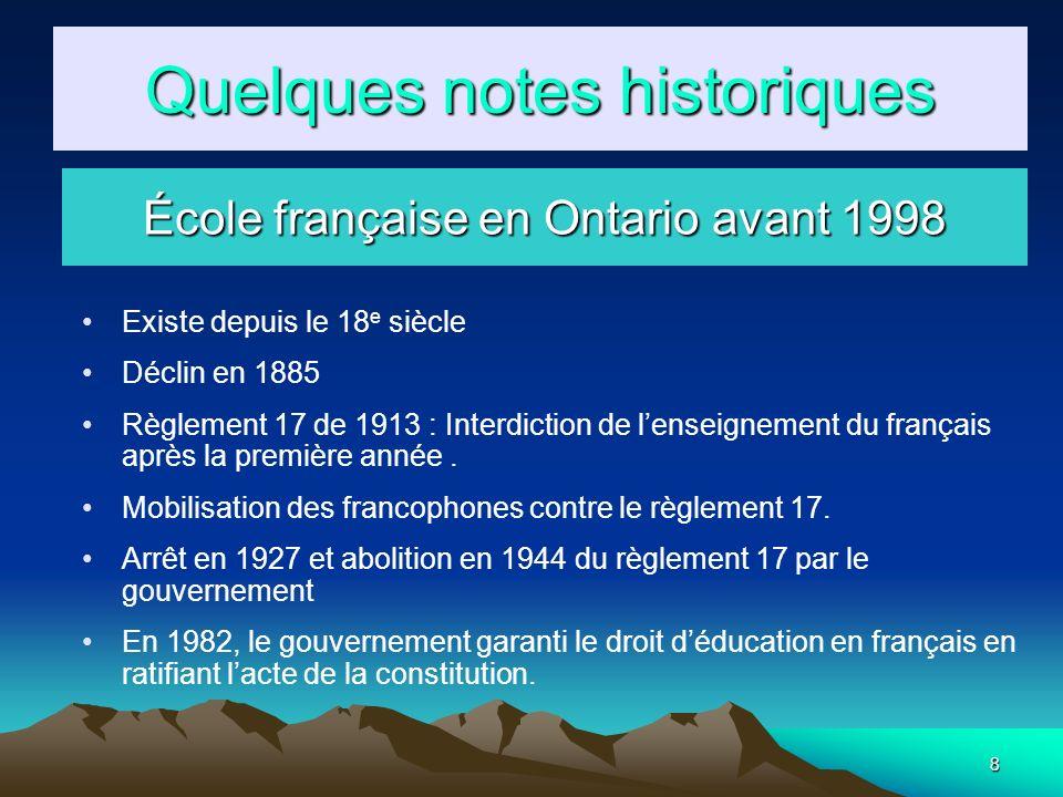 8 Existe depuis le 18 e siècle Déclin en 1885 Règlement 17 de 1913 : Interdiction de lenseignement du français après la première année. Mobilisation d