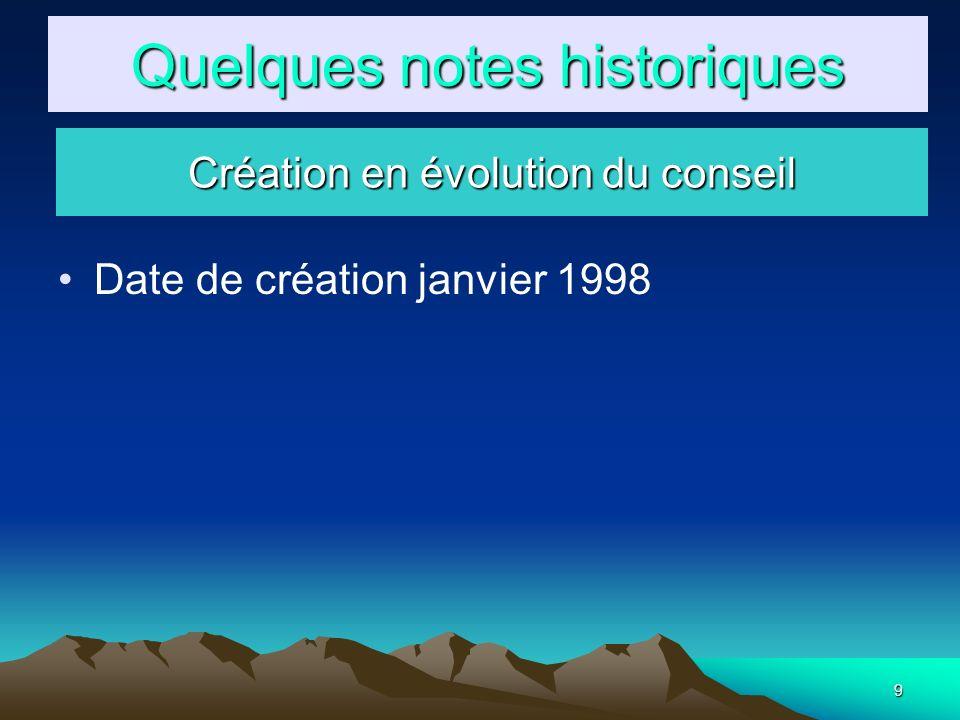 9 Date de création janvier 1998 Quelques notes historiques Création en évolution du conseil