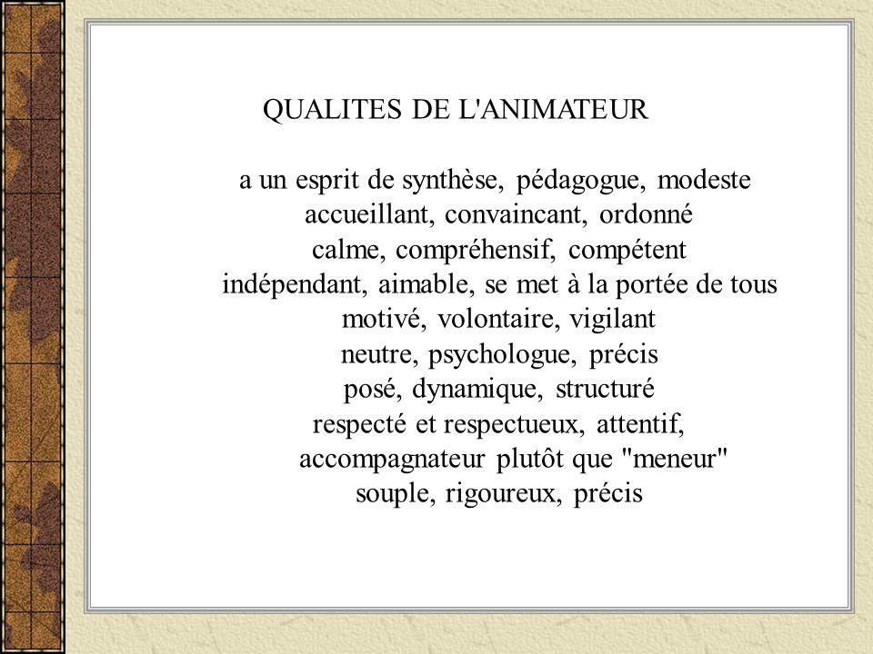 QUALITES DE L'ANIMATEUR a un esprit de synthèse, pédagogue, modeste accueillant, convaincant, ordonné calme, compréhensif, compétent indépendant, aima