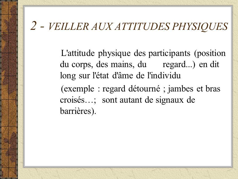 2 - VEILLER AUX ATTITUDES PHYSIQUES L'attitude physique des participants (position du corps, des mains, du regard...) en dit long sur l'état d'âme de