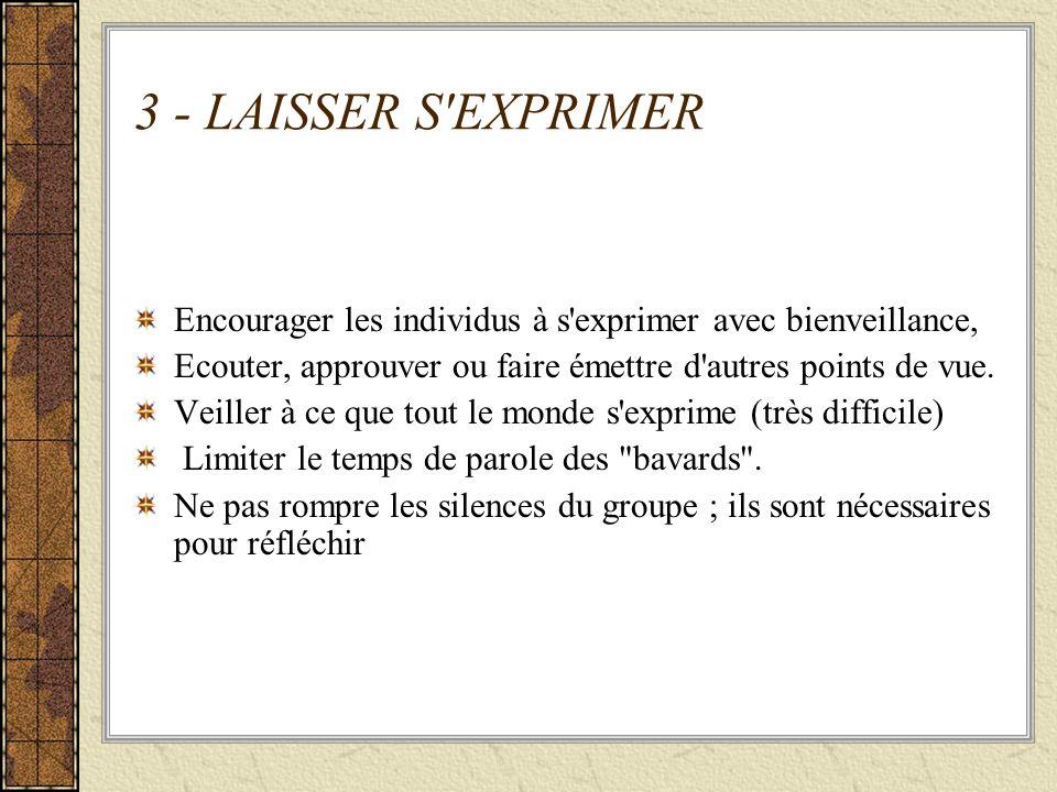 3 - LAISSER S'EXPRIMER Encourager les individus à s'exprimer avec bienveillance, Ecouter, approuver ou faire émettre d'autres points de vue. Veiller à