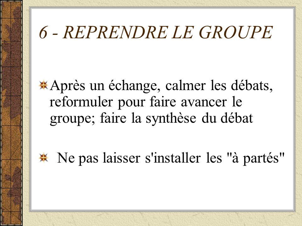 6 - REPRENDRE LE GROUPE Après un échange, calmer les débats, reformuler pour faire avancer le groupe; faire la synthèse du débat Ne pas laisser s'inst