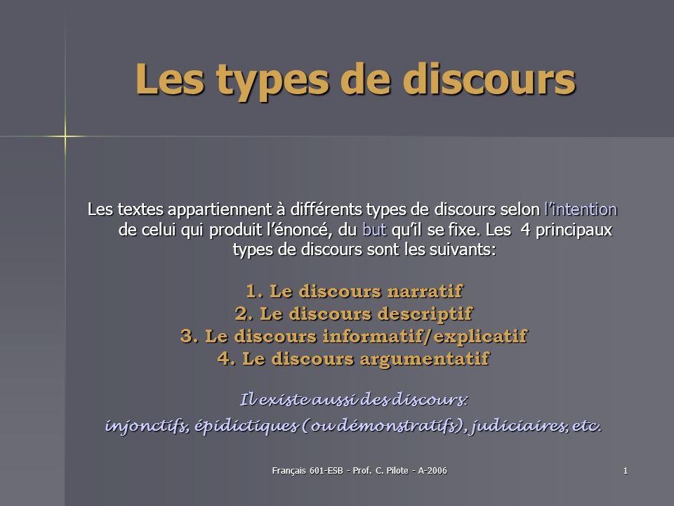 Français 601-ESB - Prof. C. Pilote - A-20061 Les types de discours Les textes appartiennent à différents types de discours selon lintention de celui q