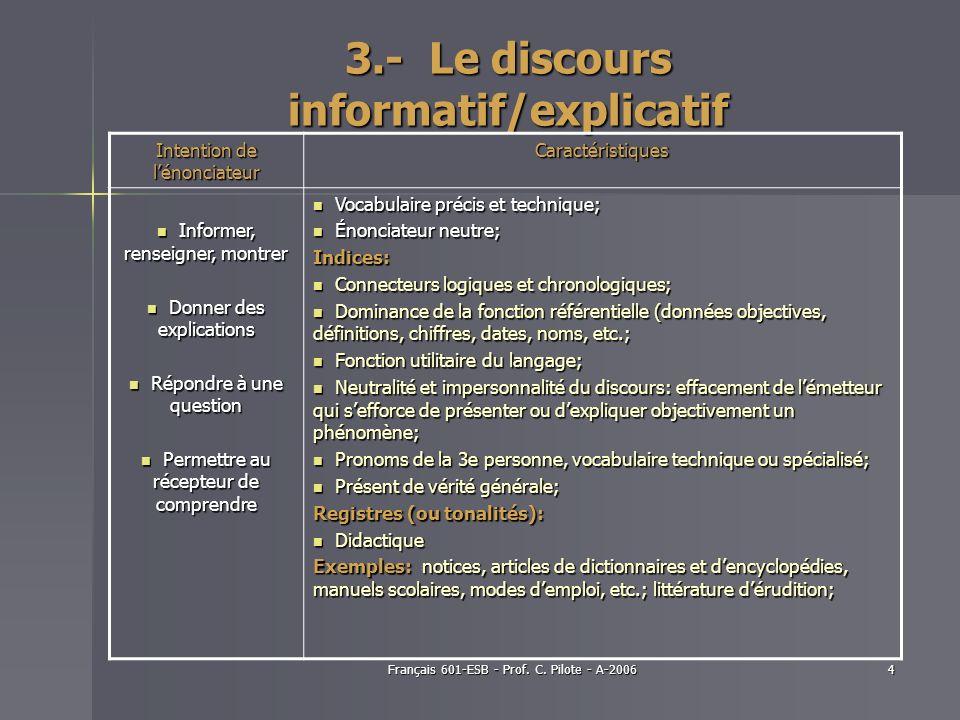 Français 601-ESB - Prof. C. Pilote - A-20064 3.- Le discours informatif/explicatif Intention de lénonciateur Caractéristiques Informer, renseigner, mo