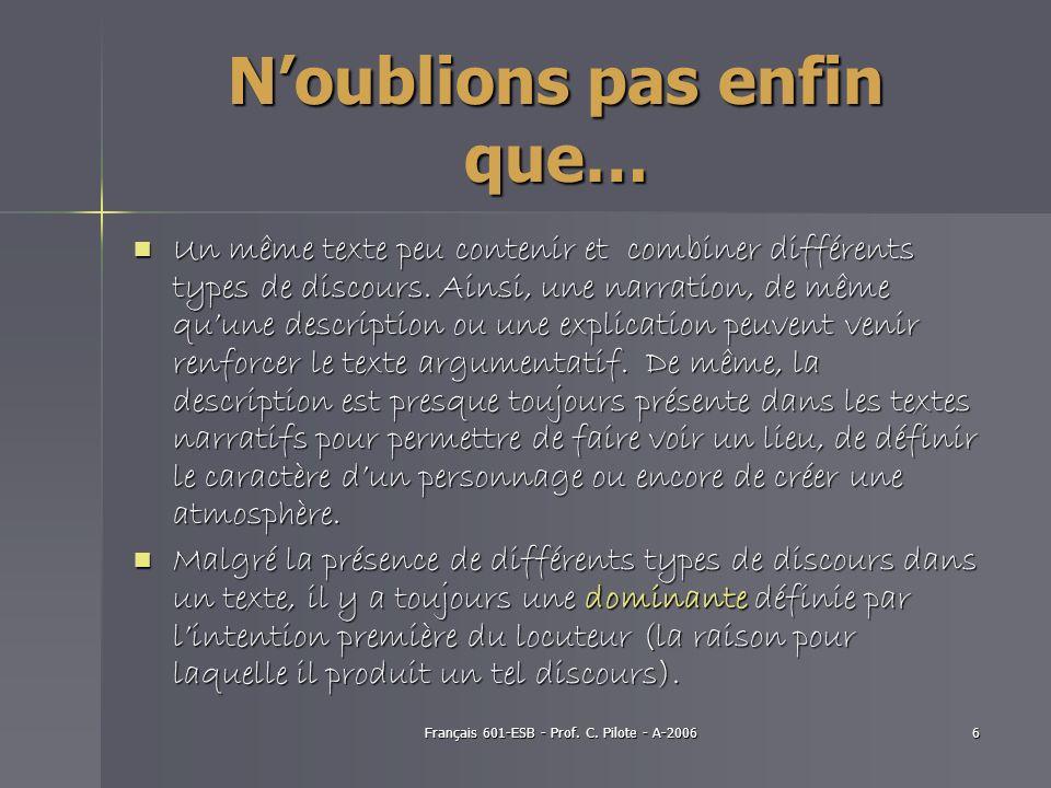 Français 601-ESB - Prof. C. Pilote - A-20066 Noublions pas enfin que… Un même texte peu contenir et combiner différents types de discours. Ainsi, une