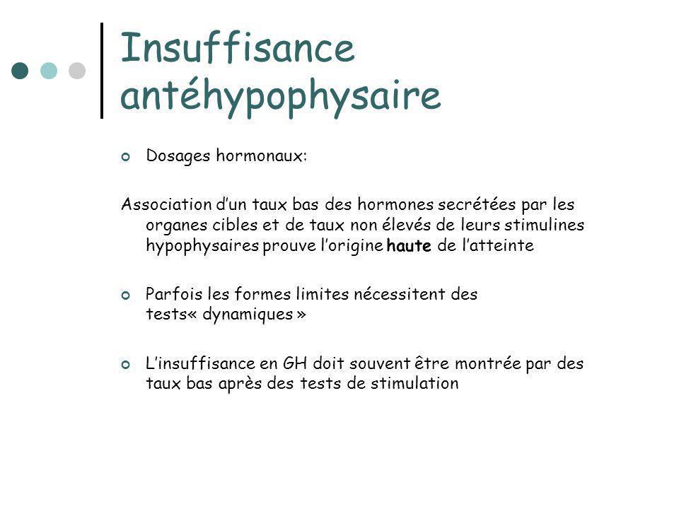 Insuffisance antéhypophysaire Dosages hormonaux: Association dun taux bas des hormones secrétées par les organes cibles et de taux non élevés de leurs