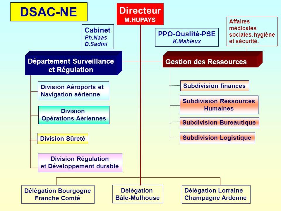 DSAC-NE Directeur M.HUPAYS Cabinet Ph.Naas D.Sadmi PPO-Qualité-PSE K.Mahieux Département Surveillance et Régulation Gestion des Ressources Subdivision