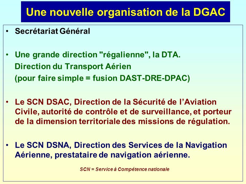Une nouvelle organisation de la DGAC Secrétariat Général Une grande direction