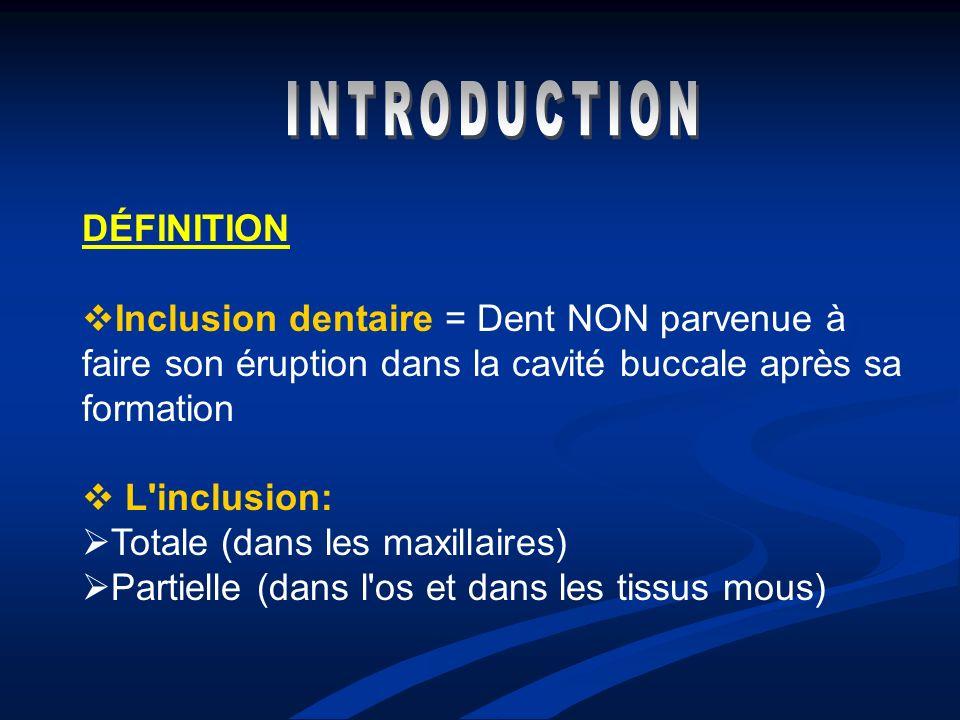 DÉFINITION Inclusion dentaire = Dent NON parvenue à faire son éruption dans la cavité buccale après sa formation L'inclusion: Totale (dans les maxilla