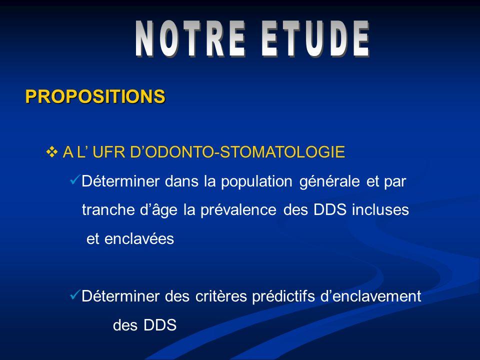 PROPOSITIONS A L UFR DODONTO-STOMATOLOGIE Déterminer dans la population générale et par tranche dâge la prévalence des DDS incluses et enclavées Déter