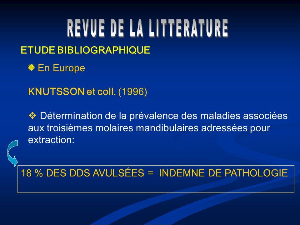 En Europe KNUTSSON et coll. (1996) Détermination de la prévalence des maladies associées aux troisièmes molaires mandibulaires adressées pour extracti