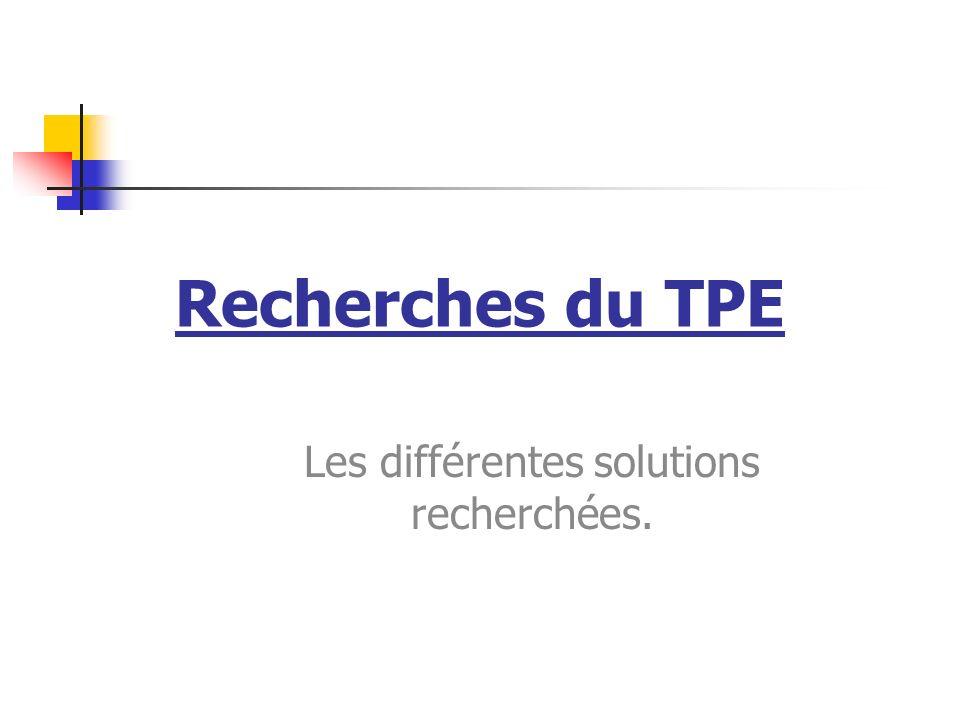 Recherches du TPE Les différentes solutions recherchées.
