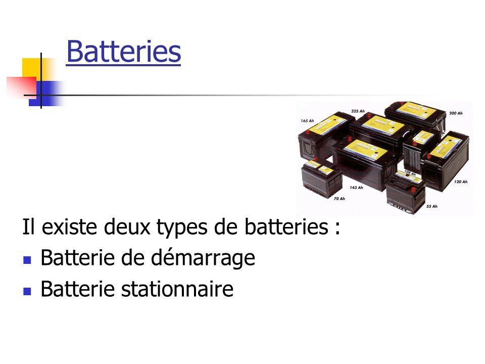 Batteries Il existe deux types de batteries : Batterie de démarrage Batterie stationnaire