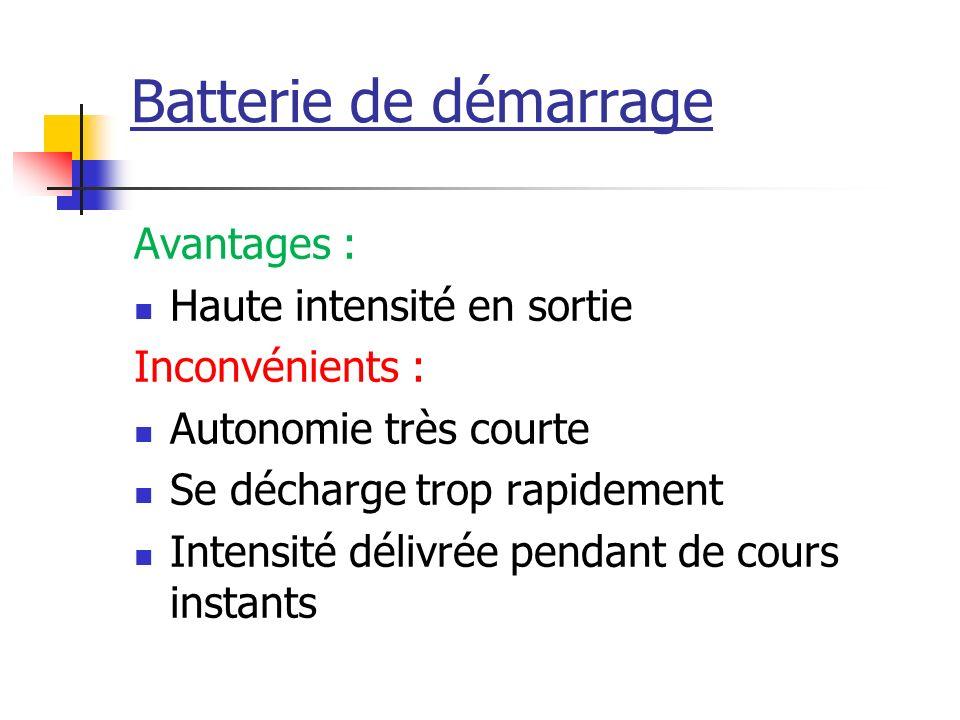 Batterie de démarrage Avantages : Haute intensité en sortie Inconvénients : Autonomie très courte Se décharge trop rapidement Intensité délivrée penda