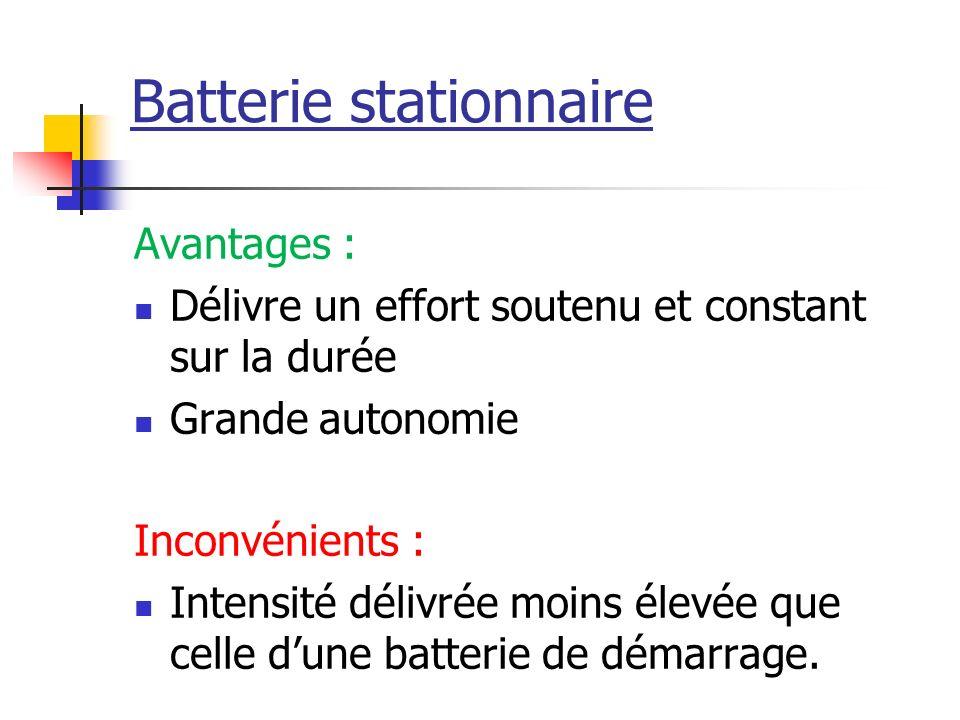 Batterie stationnaire Avantages : Délivre un effort soutenu et constant sur la durée Grande autonomie Inconvénients : Intensité délivrée moins élevée