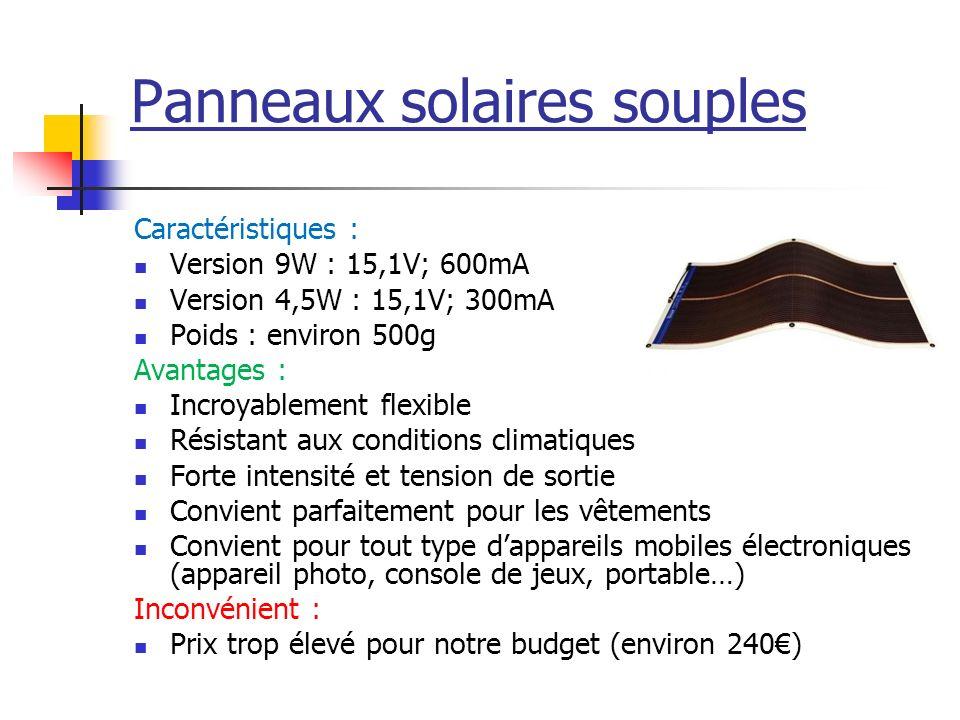 Panneaux solaires souples Caractéristiques : Version 9W : 15,1V; 600mA Version 4,5W : 15,1V; 300mA Poids : environ 500g Avantages : Incroyablement fle