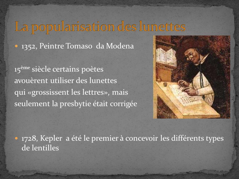1352, Peintre Tomaso da Modena 15 ème siècle certains poètes avouèrent utiliser des lunettes qui «grossissent les lettres», mais seulement la presbytie était corrigée 1728, Kepler a été le premier à concevoir les différents types de lentilles