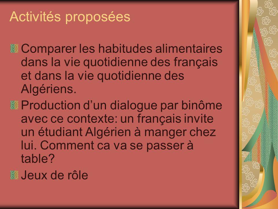 Activités proposées Comparer les habitudes alimentaires dans la vie quotidienne des français et dans la vie quotidienne des Algériens. Production dun