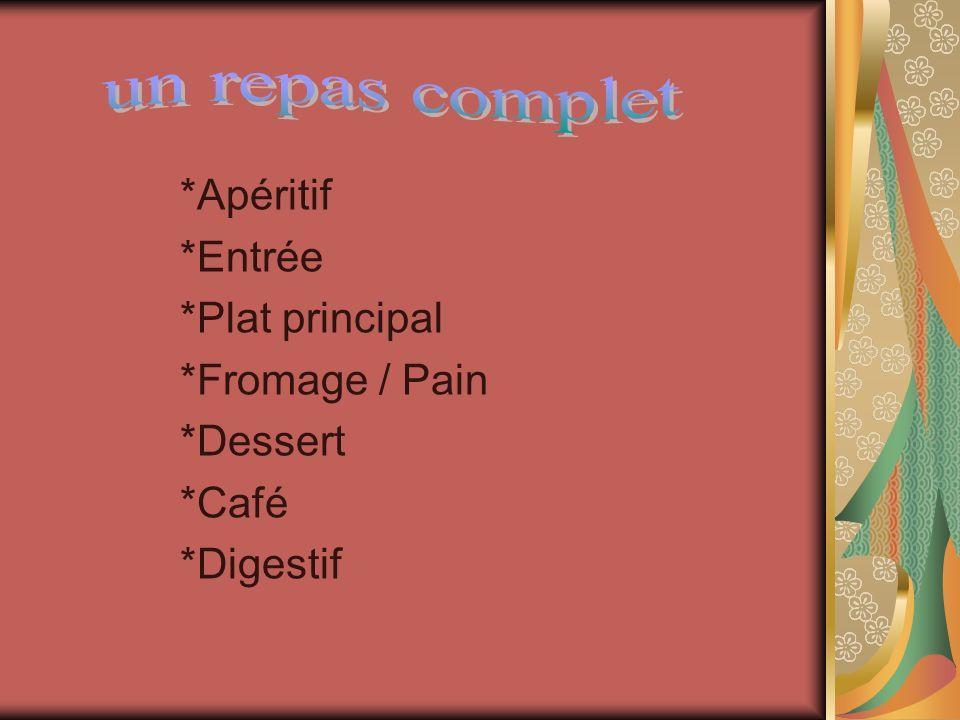 *Apéritif *Entrée *Plat principal *Fromage / Pain *Dessert *Café *Digestif