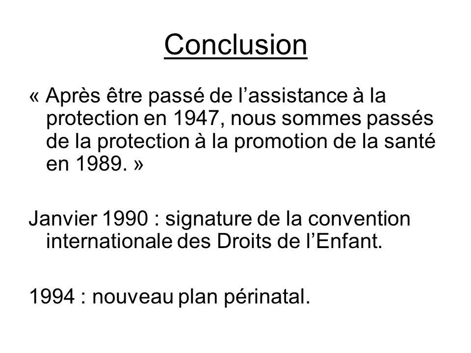 Conclusion « Après être passé de lassistance à la protection en 1947, nous sommes passés de la protection à la promotion de la santé en 1989. » Janvie