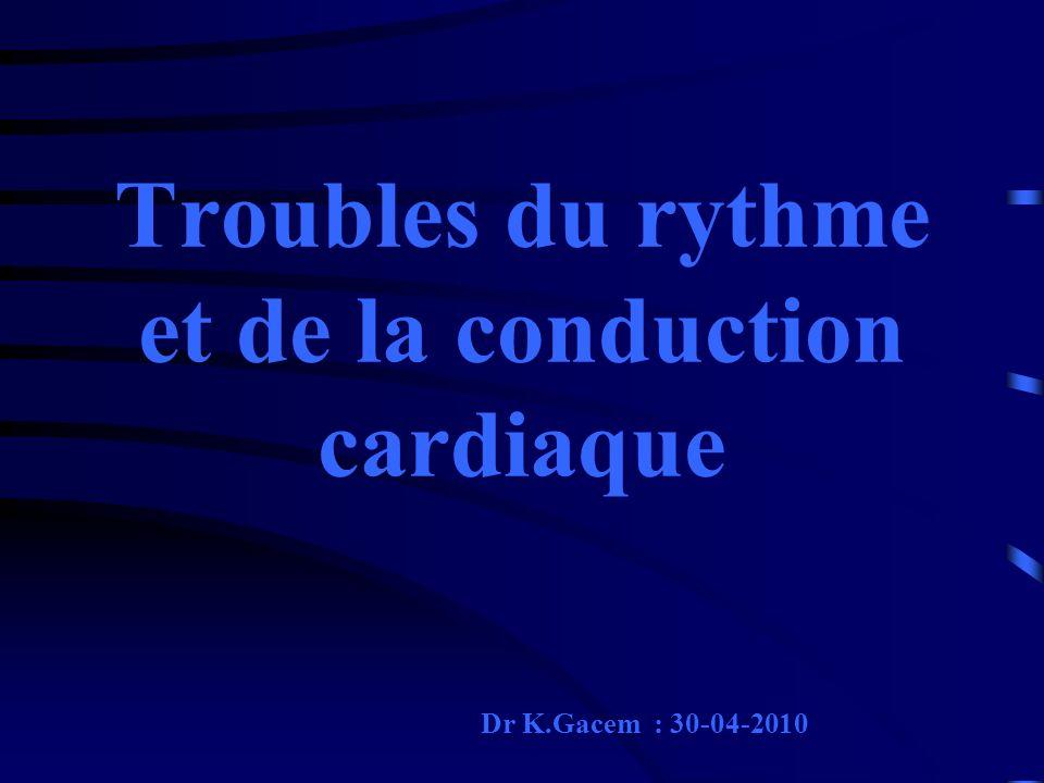 Troubles du rythme et de la conduction cardiaque Dr K.Gacem : 30-04-2010