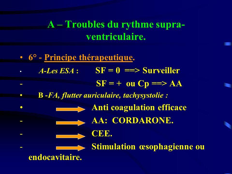 A – Troubles du rythme supra- ventriculaire. 6° - Principe thérapeutique. A-Les ESA : SF = 0 ==> Surveiller - SF = + ou Cp ==> AA B -FA, flutter auric