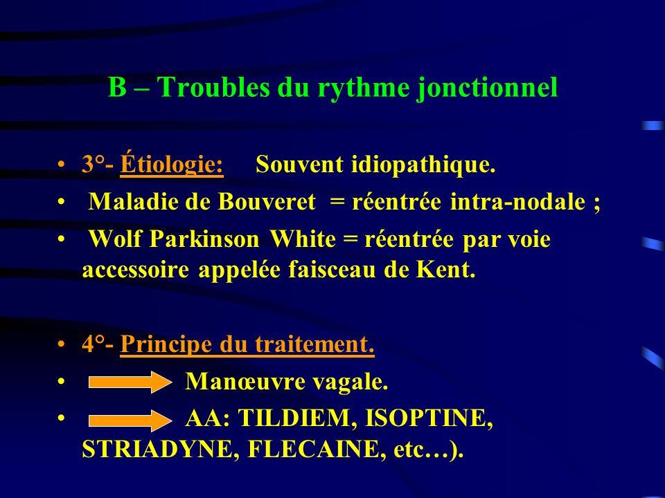 B – Troubles du rythme jonctionnel 3°- Étiologie: Souvent idiopathique. Maladie de Bouveret = réentrée intra-nodale ; Wolf Parkinson White = réentrée