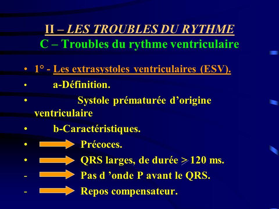 II – LES TROUBLES DU RYTHME C – Troubles du rythme ventriculaire 1° - Les extrasystoles ventriculaires (ESV). a-Définition. Systole prématurée dorigin
