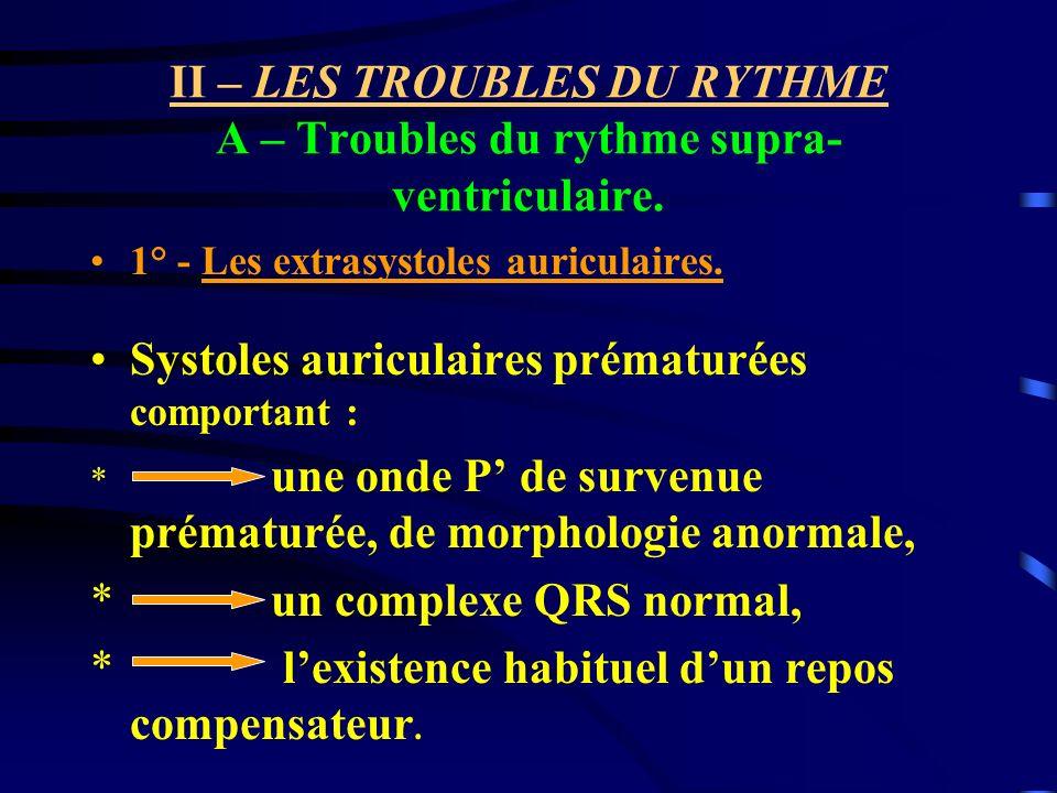 II – LES TROUBLES DU RYTHME A – Troubles du rythme supra- ventriculaire. 1° - Les extrasystoles auriculaires. Systoles auriculaires prématurées compor