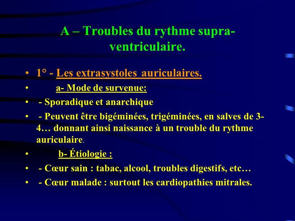 A – Troubles du rythme supra- ventriculaire. 1° - Les extrasystoles auriculaires. a- Mode de survenue: - Sporadique et anarchique - Peuvent être bigém