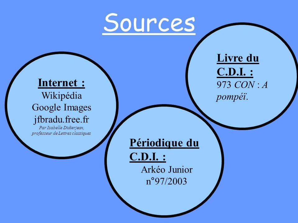 Sources Internet : Wikipédia Google Images jfbradu.free.fr Par Isabelle Didierjean, professeur de Lettres classiques Livre du C.D.I. : 973 CON : A pom