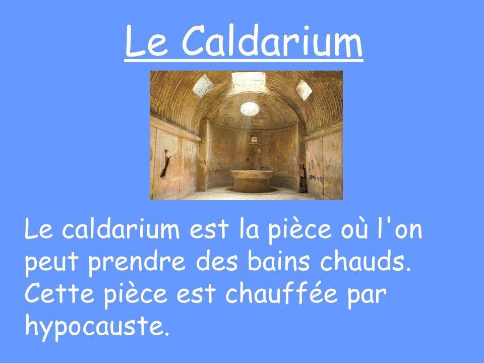 Le Caldarium Le caldarium est la pièce où l'on peut prendre des bains chauds. Cette pièce est chauffée par hypocauste.