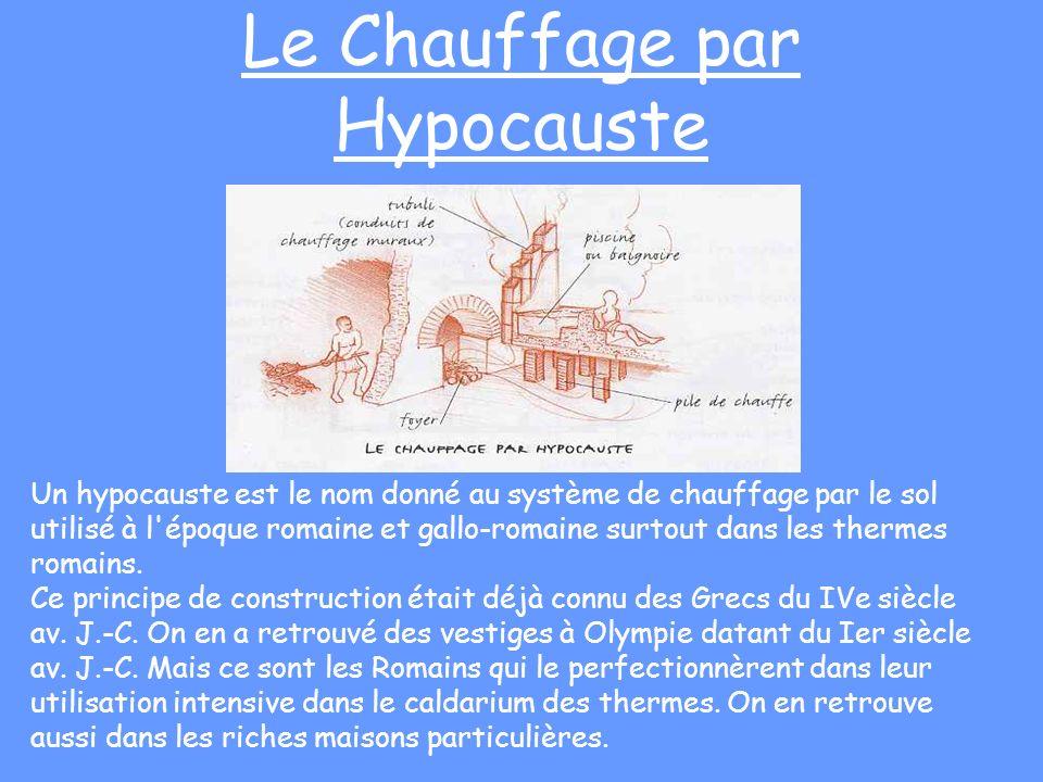 Le Chauffage par Hypocauste Un hypocauste est le nom donné au système de chauffage par le sol utilisé à l'époque romaine et gallo-romaine surtout dans
