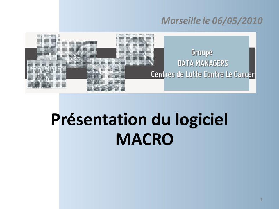Présentation du logiciel MACRO Le monitorage des bases de données 3/3 les Warnings 22 Warnings lancés automatiquement -La donnée peut être corrigée (clear) - ou le warning outrepassé