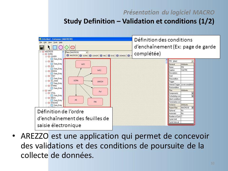 Présentation du logiciel MACRO Study Definition – Validation et conditions (1/2) AREZZO est une application qui permet de concevoir des validations et des conditions de poursuite de la collecte de données.
