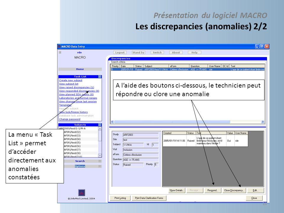 Présentation du logiciel MACRO Les discrepancies (anomalies) 2/2 La menu « Task List » permet daccéder directement aux anomalies constatées A laide de