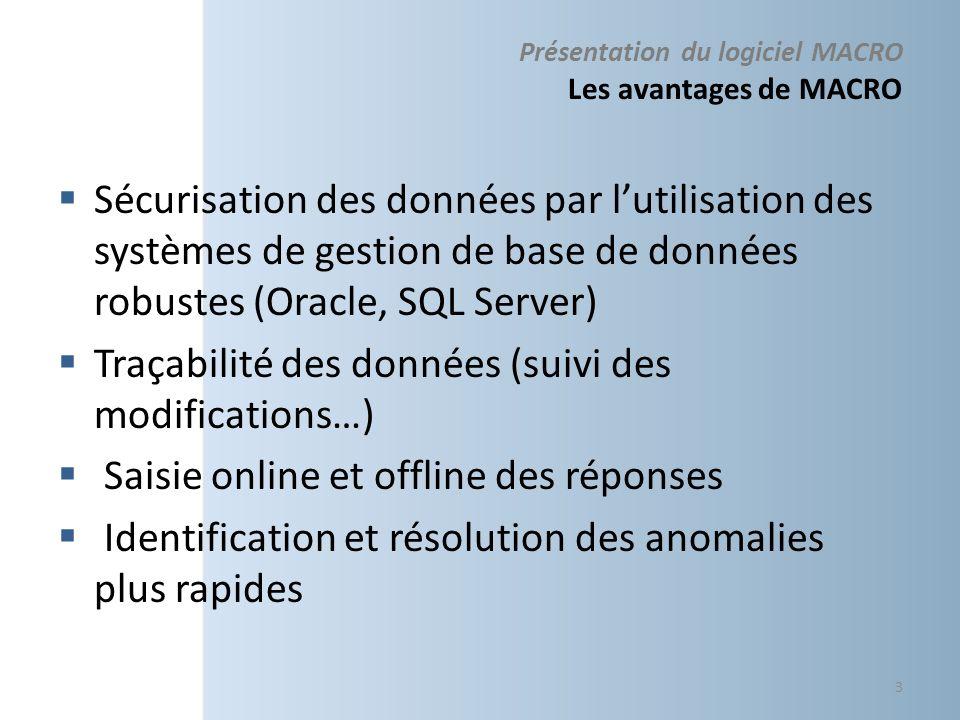 Présentation du logiciel MACRO Les avantages de MACRO Sécurisation des données par lutilisation des systèmes de gestion de base de données robustes (O