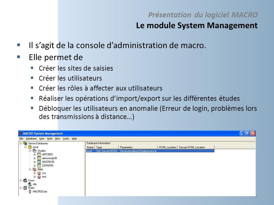 Présentation du logiciel MACRO Le module System Management Il sagit de la console dadministration de macro. Elle permet de Créer les sites de saisies
