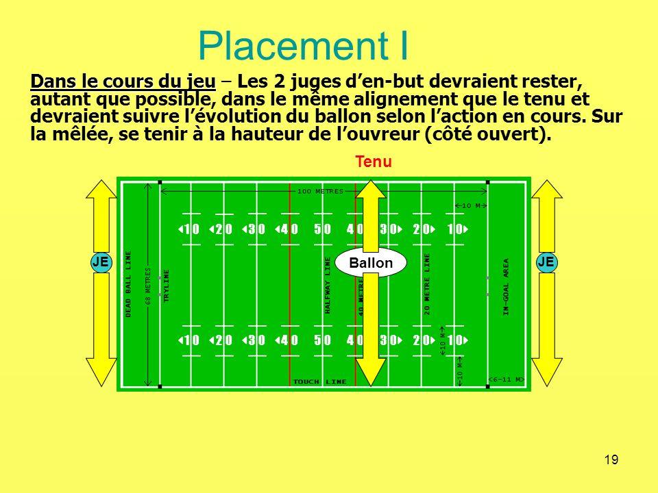 19 Placement I Dans le cours du jeu Dans le cours du jeu – Les 2 juges den-but devraient rester, autant que possible, dans le même alignement que le t
