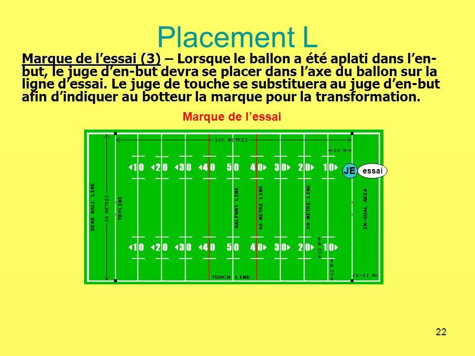 22 Placement L Marque de lessai Marque de lessai (3) Marque de lessai (3) – Lorsque le ballon a été aplati dans len- but, le juge den-but devra se pla